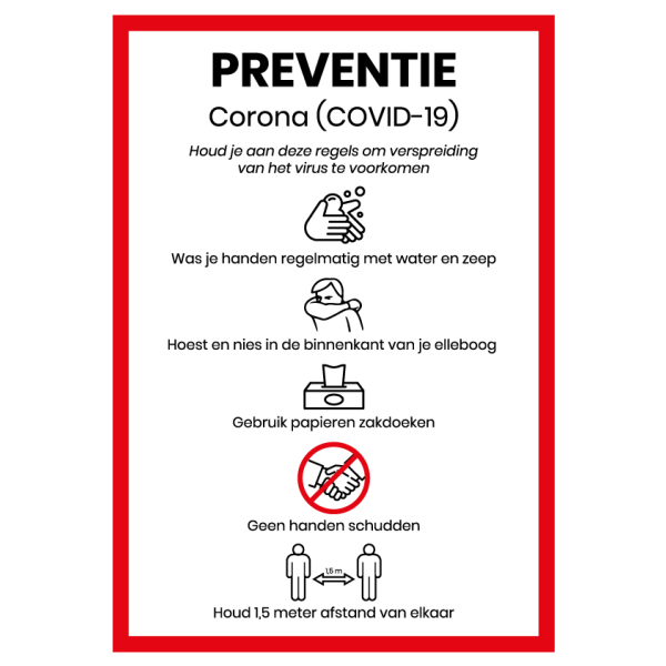 COVID 19 preventiesticker - A4 (rood-wit)